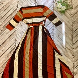Love in Dresses - NEW striped maxi dress in rust, brown, and tan
